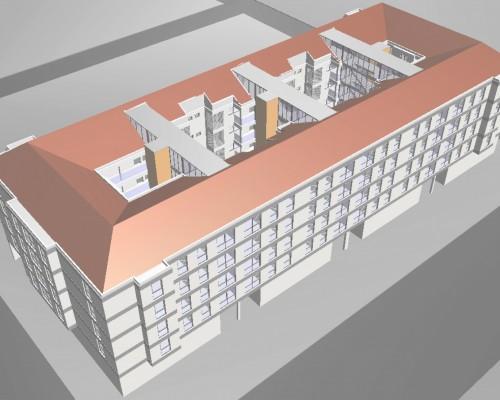 BR&C arquitectos Infografía edificio viviendas colectivas Galdakao