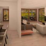 BR&C arquitectos Infografía salón-comedor vivienda unifamiliar Getxo